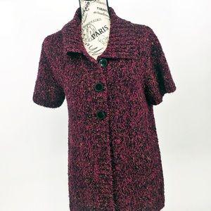 Burgundy   short sleeve button  sweater ,medium.